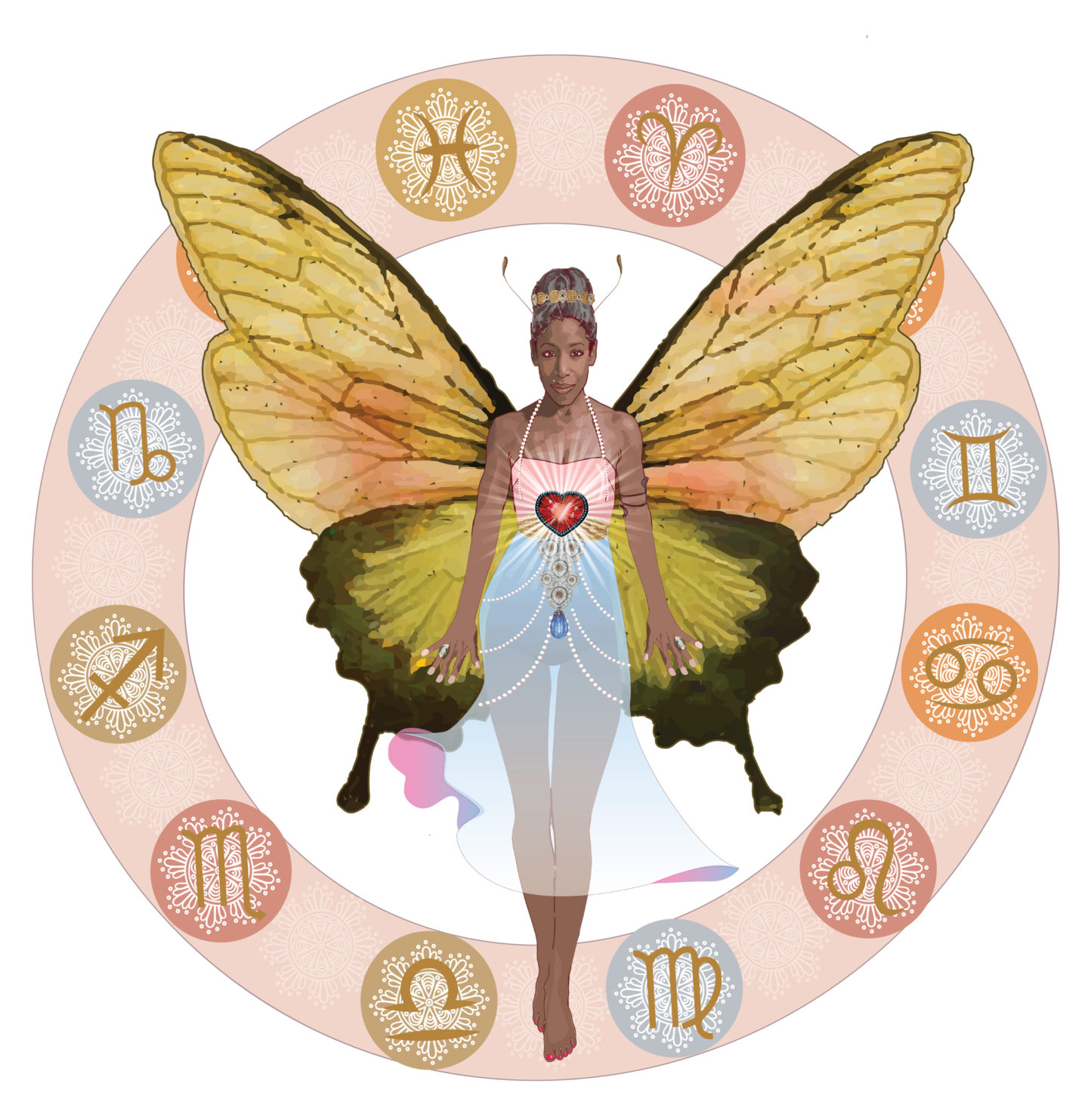 Badass Butterfly and Astrology Wheel