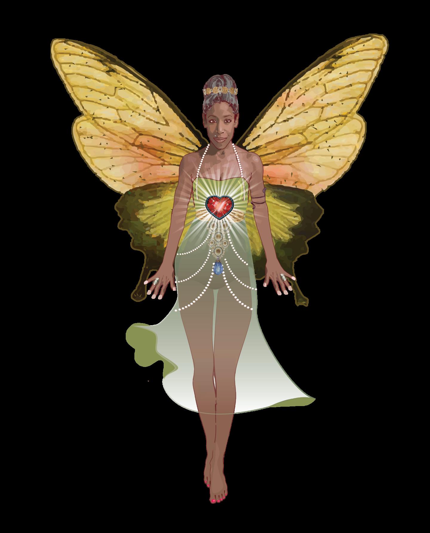 Badass Butterfly in green dress